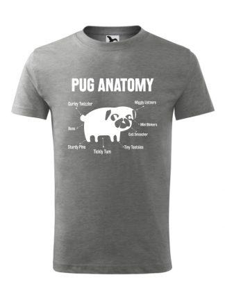 Koszulka męska z krótkim rękawem i nadrukiem Pug Anatomy. Kolor szary.