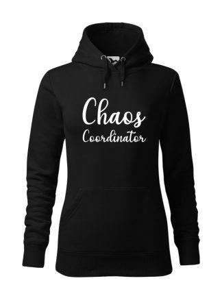 "Czarna bluza damska z białym napisem Chaos Coordinator. Bluza typu ""kangur"" z kapturem."