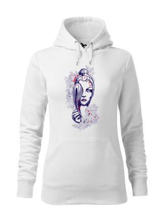 """Biała bluza damska z geometrycznym nadrukiem kobiety. Bluza typu """"kangur"""" z kapturem."""