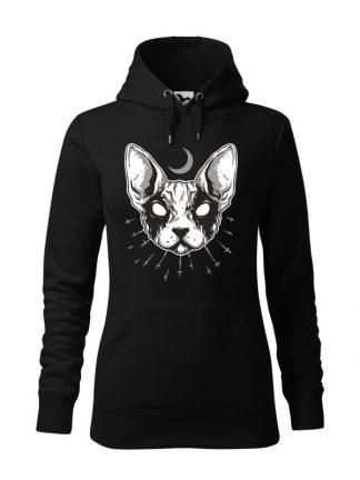 """Czarna bluza damska z czarno-białym nadrukiem kota rasy sfinks. Bluza typu """"kangur"""" z kapturem."""