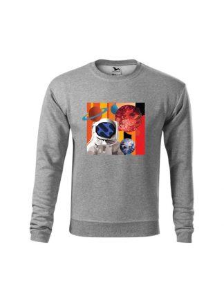Szara bluza dziecięca z kolorowym nadrukiem astronauty otoczonego planetami. Bluza wkładana, bez kaptura.