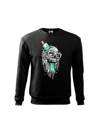 Czarna bluza dziecięca z komiksowym nadrukiem czaszki przebitej lodem na patyku. Bluza wkładana, bez kaptura.