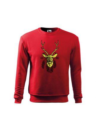 Czerwona bluza dziecięca z geometrycznym nadrukiem jelenia w stylu boho. Żółty jeleń otoczony piórami. Bluza wkładana, bez kaptura.