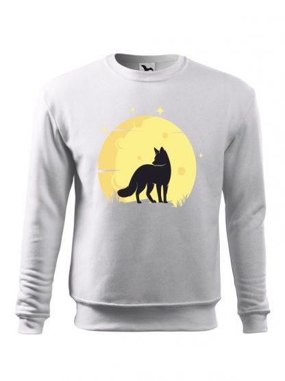 Biała bluza męska z nadrukiem lisa na tle księżyca. Bluza wkładana, bez kaptura.