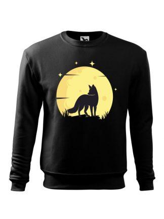 Czarna bluza męska z nadrukiem lisa na tle księżyca. Bluza wkładana, bez kaptura.