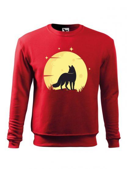 Czerwona bluza męska z nadrukiem lisa na tle księżyca. Bluza wkładana, bez kaptura.