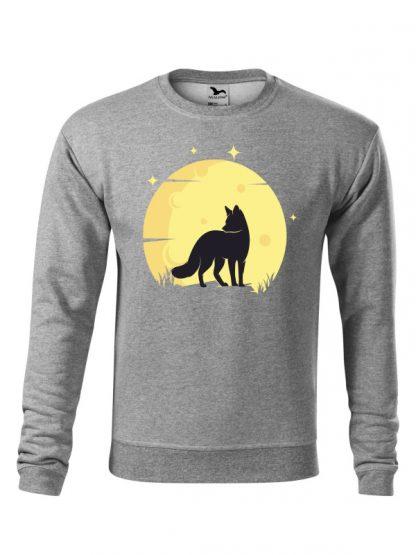 Szara bluza męska z nadrukiem lisa na tle księżyca. Bluza wkładana, bez kaptura.