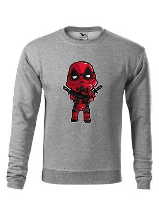 Szara bluza męska z karykaturą postaci filmowej. Bluza wkładana, bez kaptura.