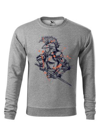 Szara bluza męska z nadrukiem rycerza w kasku motocross. Bluza wkładana, bez kaptura.
