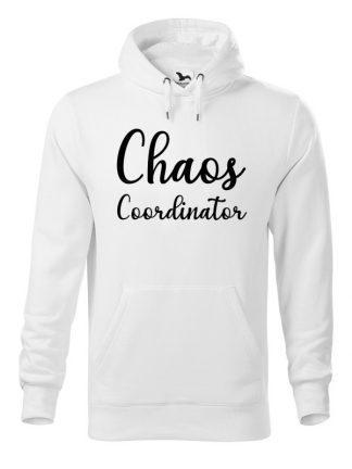 Biała bluza męska z białym napisem Chaos Coordinator. Bluza typu kangur z kapturem.