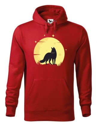 Czerwona bluza męska z nadrukiem lisa na tle księżyca. Bluza typu kangur z kapturem.