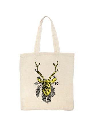 Ekologiczna ekotorba bawełniana w kolorze ecru, z geometrycznym nadrukiem jelenia w stylu boho. Żółty jeleń otoczony piórami.