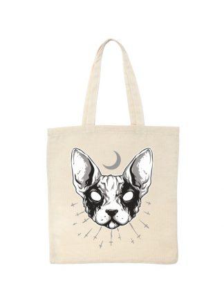 Ekologiczna ekotorba bawełniana w kolorze ecru, z czarno-białym nadrukiem kota rasy sfinks.
