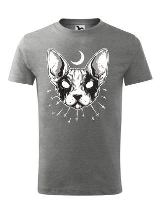 Męska koszulka z krótkim rękawem i czarno-białym nadrukiem kota rasy sfinks. Koszulka szara.