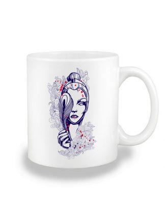 Biały kubek ceramiczny z geometrycznym nadrukiem kobiety. Nadruk dwustronny.