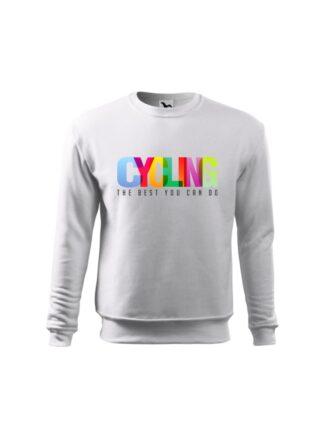 Biała bluza dziecięca z kolorowym napisem Cycling, The Best You Can Do. Bluza wkładana, bez kaptura.