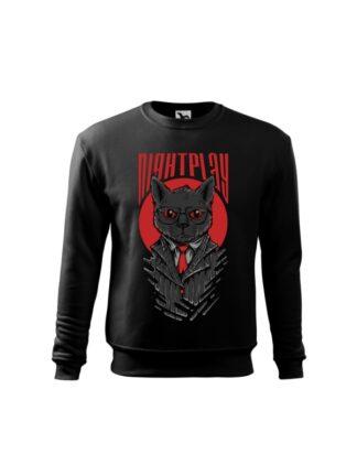 Czarna bluza dziecięca z wizerunkiem kota w garniturze i okularach oraz napisem Nightplay. Bluza wkładana, bez kaptura.