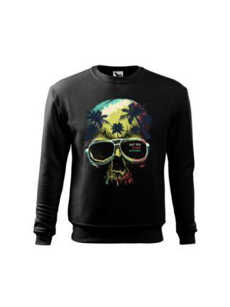 Czarna bluza dziecięca z kolorowym motywem czaszki oraz napisem Say Yes To New Adventures. Bluza wkładana, bez kaptura.