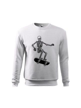 Biała bluza dziecięca z czarnym nadrukiem szkieleta jadącego na deskorolce. Bluza wkładana, bez kaptura.