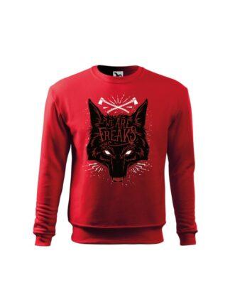 Czerwona bluza dziecięca z czarnym motywem wilka oraz napisem We Are Freaks. Bluza wkładana, bez kaptura.