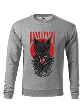 Szara bluza męska z wizerunkiem kota w garniturze i okularach oraz napisem Nightplay. Bluza wkładana, bez kaptura.