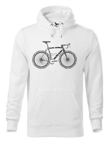 """Biała bluza męska z czarnym nadrukiem anatomii roweru. Bluza typu """"kangur"""" z kapturem."""