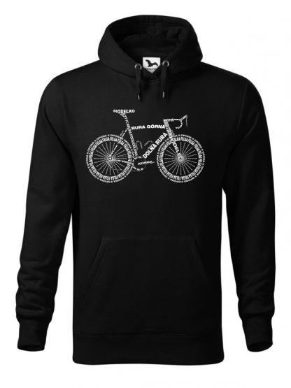 """Czarna bluza męska z białym nadrukiem anatomii roweru. Bluza typu """"kangur"""" z kapturem."""