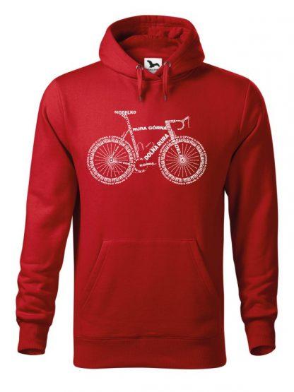 """Czerwona bluza męska z białym nadrukiem anatomii roweru. Bluza typu """"kangur"""" z kapturem."""