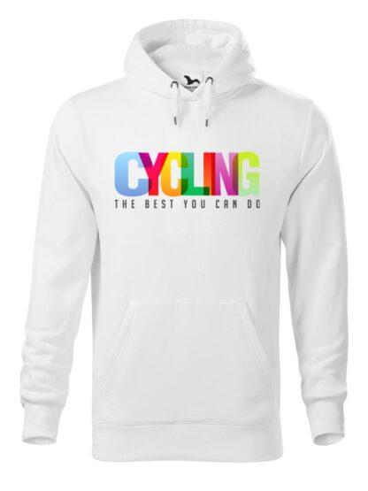 """Biała bluza męska z kolorowym napisem Cycling, The Best You Can Do. Bluza typu """"kangur"""" z kapturem."""