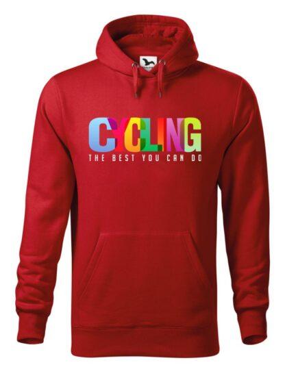 """Czerwona bluza męska z kolorowym napisem Cycling, The Best You Can Do. Bluza typu """"kangur"""" z kapturem."""