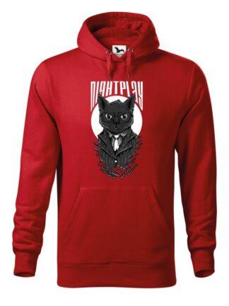 """Czerwona bluza męska z wizerunkiem kota w garniturze i okularach oraz napisem Nightplay. Bluza typu """"kangur"""" z kapturem."""