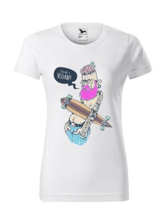 Damska koszulka z krótkim rękawem i kolorowym nadrukiem ekscentrycznego mężczyzny z deskorolką, pytającego Still Not A Vegan?! Koszulka o kroju standardowym, w kolorze białym.