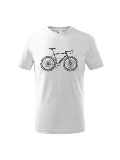 Dziecięca koszulka z krótkim rękawem i czarnym nadrukiem anatomii roweru. Koszulka biała.