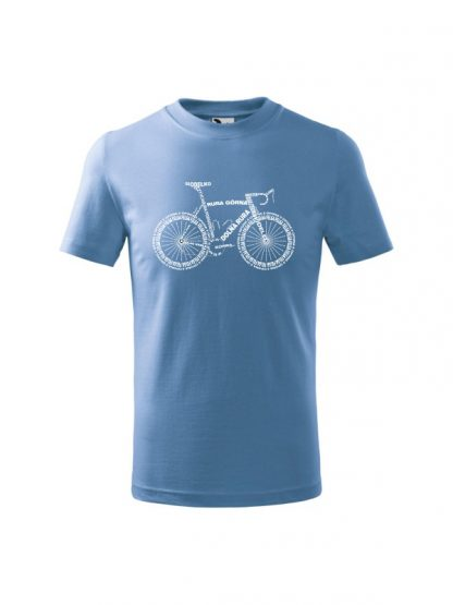 Dziecięca koszulka z krótkim rękawem i białym nadrukiem anatomii roweru. Koszulka błękitna.