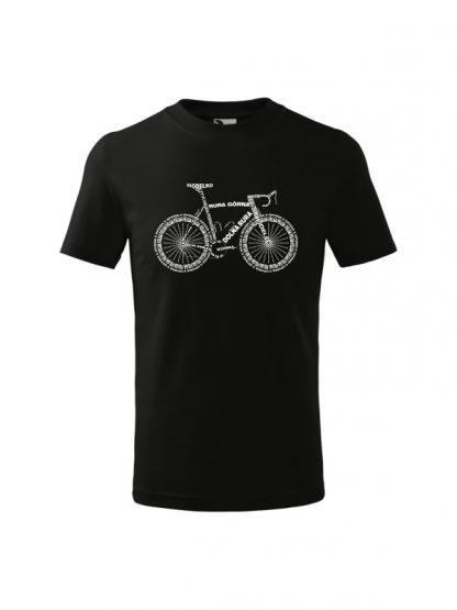 Dziecięca koszulka z krótkim rękawem i białym nadrukiem anatomii roweru. Koszulka czarna.