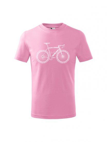 Dziecięca koszulka z krótkim rękawem i białym nadrukiem anatomii roweru. Koszulka różowa.
