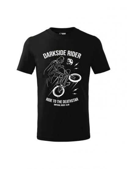 Dziecięca koszulka z krótkim rękawem i białym nadrukiem Darkside Rider, nawiązującym do popularnych filmów sci-fi. Koszulka czarna.