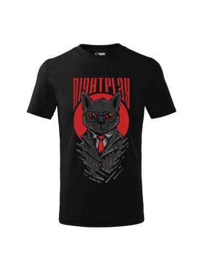 Dziecięca koszulka z krótkim rękawem i wizerunkiem kota w garniturze i okularach oraz napisem Nightplay. Koszulka czarna.