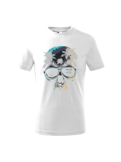 Dziecięca koszulka z krótkim rękawem i kolorowym motywem czaszki oraz napisem Say Yes To New Adventures. Koszulka biała.
