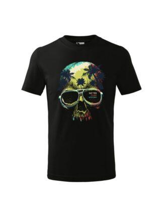Dziecięca koszulka z krótkim rękawem i kolorowym motywem czaszki oraz napisem Say Yes To New Adventures. Koszulka czarna.