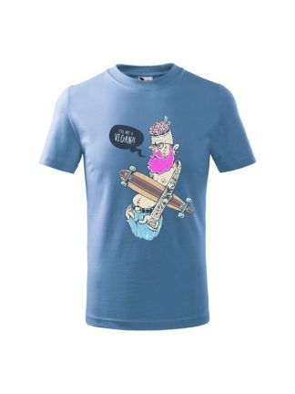 Dziecięca koszulka z krótkim rękawem i kolorowym nadrukiem ekscentrycznego mężczyzny z deskorolką, pytającego Still Not A Vegan?! Koszulka błękitna.