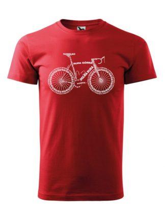 Męska koszulka z krótkim rękawem i białym nadrukiem anatomii roweru. Koszulka czerwona.