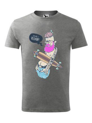 Męska koszulka z krótkim rękawem i kolorowym nadrukiem ekscentrycznego mężczyzny z deskorolką, pytającego Still Not A Vegan?! Koszulka szara.