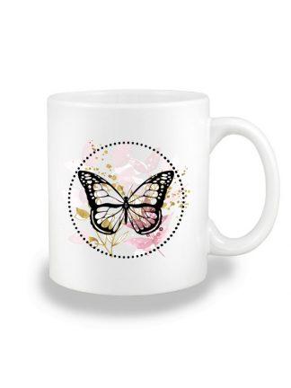 Biały kubek ceramiczny z kolorowym motywem motyla w stylu boho. Nadruk dwustronny.
