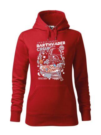 """Czerwona bluza damska z kolorowym nadrukiem płatków śniadaniowych Cosmic Cereal, nawiązujących do popularnej serii filmów sci-fi. Bluza typu """"kangur"""" z kapturem."""