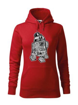 """Czerwona bluza damska z czarno-białą grafiką droida, inspirowaną serią popularnych filmów sci-fi. Bluza typu """"kangur"""" z kapturem."""
