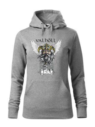 """Szara bluza damska z nadrukowanym wizerunkiem Odyna oraz napisem Valhöll. Bluza typu """"kangur"""" z kapturem."""
