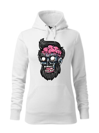 """Biała bluza damska z kolorową, rysunkową grafiką głowy Zombie. Bluza typu """"kangur"""" z kapturem."""