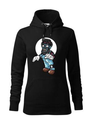 """Czarna bluza damska z kolorową, rysunkową grafiką zombie. Bluza typu """"kangur"""" z kapturem."""