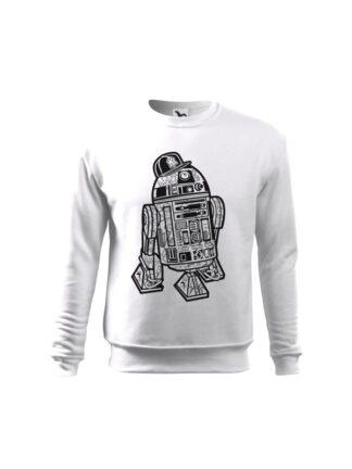 Biała bluza dziecięca z czarno-białą grafiką droida, inspirowaną serią popularnych filmów sci-fi. Bluza wkładana, bez kaptura.